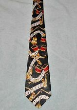 RENAISSANCE MUSICAL NOTES & INSTRUMENTS NECK TIE  BLACK RED GOLD  FREE SHIPPING
