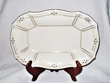 "LENOX Vanguard Collection Beige/Gold Trim 12"" Porcelain Oval Serving Platter EUC"