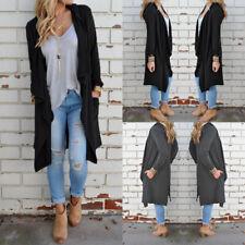 UK Womens Summer Long Sleeve Waterfall Long Sunbloc Coat Jacket Cardigan Outwear