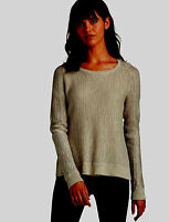 NWT $90 LUCKY BRAND WOMENS METALLIC PULLOVER SHIRT SWEATER - BROWN - SMALL