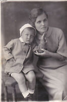 1930s Family woman boy Mother with son fashion old Russian antique photo