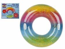"""Gigante Hinchable 48"""" Anillo Rainbow Brillo Natación Agua Flotar Piscina Diversión playa UK"""