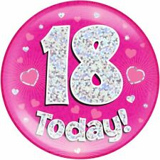 "6"" Jumbo Badge 18 Today Pink Holographic Dot"