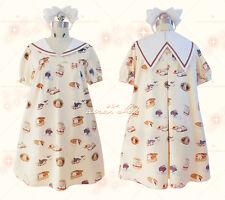 Kawaii Girl Rabbit Short Sleeve Summer Lolita Sweet Sailor collar Dress Yellow