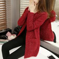 Women's Crochet Knitted Cardigan Coat Casual Jacket Sweater Knitwear Outwear
