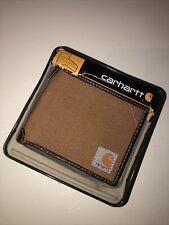 Mens Carhartt Brown Canvas Passcase Wallet