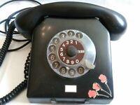 Original Vintage rotary phone Nordfern W66 DDR Germany. Telephone Black Old