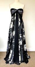Monsoon Silk Maxi Dress Josephine 12 Strapless Black Ivory  Silver Occasion