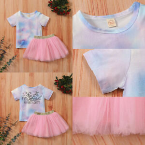Infant Toddler Girls Tie-dye Top and Mesh Skirt Suit Top T-shirt Skirt Outfits