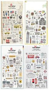 New York London Italy Paris Germany Transparent Scrapbook Decor Stickers Craft
