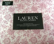 Ralph Lauren King Size Floral Sheet Set Cotton 300 Thread Count Red Floral White