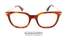 Original Gucci Brillenfassung Brille GG 0110O Farbe 003 havannabraun gold