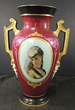 "Large 14 3/4"" Antique German Hand Painted & Transfer Portrait Vase Young Woman"