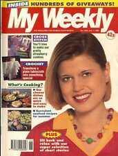 MY WEEKLY MAGAZINE 1/7/1995 CROCHET TABLECLOTH, CROSS STITCH STRAWBERRY CUSHION