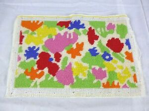 """Vtg Completed Needlepoint MOD Abstract Multi Color Flowers 13"""" x 8"""" BRIGHT!!"""