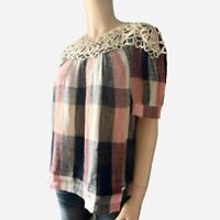 Women's Short Sleeve Blouse Top Anthropologie Size Medium Plaid Cotton New $120