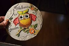 WELCOME TO MY GARDEN 6 INCH GARDEN DECOR STEPPING STONE WHITE/GRAY WITH TREE OWL