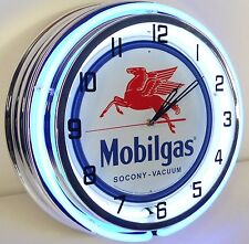 "18"" Vintage MOBILGAS Metal Sign Double Neon Wall Clock Mobil Gas Station Oil"