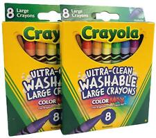 Crayola Bs523280 Large Washable Crayons 8 Colors - 2 Packs, 16 Total Crayons