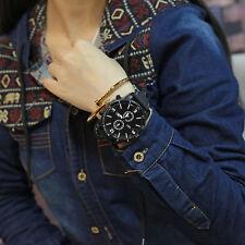 Fashion Boys Men's 3-Dials Big Round Face Silicone Band Sport Quartz Wrist Watch