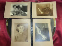 "Collection of 4 VINTAGE PHOTOGRAPHS Mother, Mother & Son, Cat ""Tiddles"" BW 1950s"