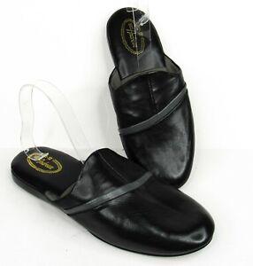 Vintage 80s Matt Andrews Mens Slip-On House Shoes Slippers Size 9 Black Vinyl