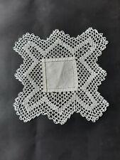 Vintage small cream square crocheted doily.