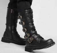 Punk Mens knee high boots zip toe buckle strap motorcycle combat Casual shoes sz