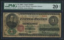 FR17c $1 1862 LEGAL TENDER PMG 20 VF NET EXT RARE (7 KNOWN) CV $7,500 WLM4355