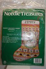 Needle Treasures Needlepoint Kit Teddys Rocking Horse Christmas Stocking 06826