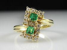"18K Emerald Diamond Ring Yellow Gold Fine Jewelry ""S"" Design Square Green Sz 7"