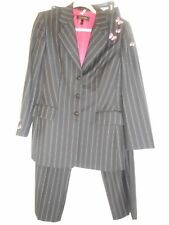 ESCADA Pants Jacket Blazer Suit 8 38 Black White Embroidered Butterfly Pinstripe