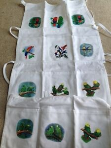 White Three Pocket Half Apron with Parrots on pockets.  Pick Your Favorite