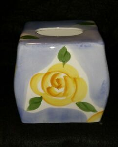 Wamsutta Tissue Box Cover Ceramic Hand Painted Blue Yellow Roses