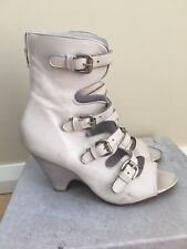 Elena Iachi PE3013 Osso, Open Toe Booties, Gladiator Wedge Sandals, Sz 38 BNWT