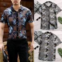 Mens Mesh Tops Floral Sheer Slim Fit Muscle See Through T Shirt Top Tee Clubwear