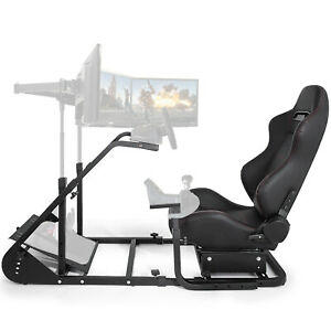 RS6 Racing Simulator Cockpit Gaming Chair W/ Stand Stretchable Height Adjustable
