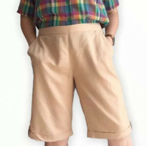 Safari Mom Shorts 12 14 UK Cotton High Waist Beige Sand Knee Length Classic Chic