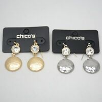 chico's jewelry matte gold silver tone hammered cut crystals hoop drop earrings