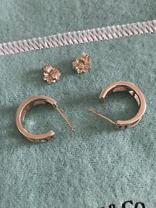 Auth Tiffany & Co Atlas Romans Sterling Silver Mini Hoop Earrings Rare / Retired