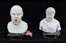 Socrates and Plato Ancient Greek philosophers sculpture statue busts