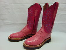 Lucchese 2000 Women's 6.5 B Full Quill Ostrich Leather Crepe Soles Boots T1503HD