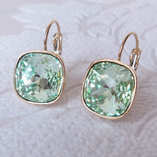 Mint Green Crystal Drop Earrings w/ Chrysolite Cushion Cut Swarovski Gold Plated