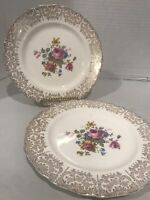 Pair Vintage 1940s Canonsburg Keystone Lajean 22K Gold Trim 6 1/2 Dessert Plates