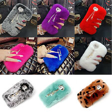 Cute bow Crystal Winter Warm Furry Rabbit Fur Case Cover Skin for iPhone&Samsung