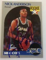 Nick Anderson Hand Signed 1990 Hoops Rookie Card Orlando Magic