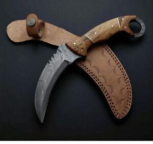 """Handmade Forged  Karambit Hunter Knife, Damascus Blade,horn  & Brass Handle 10 """""""