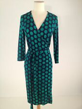 Women's 3/4 Length Sleeve Dark Green and Navy Blue Wrap Dress Size XS