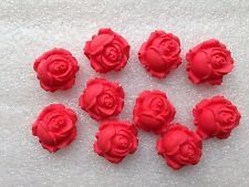 Edible Fondant Icing Red Roses - Cake Topper X 12