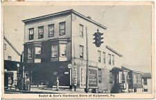 Scalet & Son's Hardware Store in Kulpmont PA Postcard 1936 Gas Pumps
